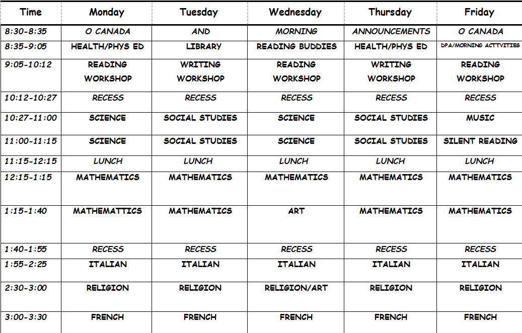 daily timetable schedule